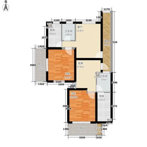 天悦花园2室1厅2卫2厨111.00㎡户型图
