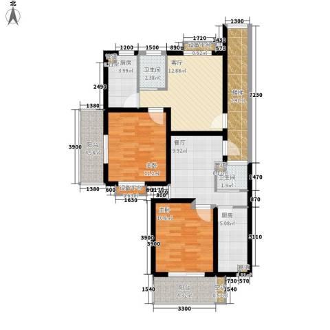 天悦花园2室2厅2卫2厨114.00㎡户型图
