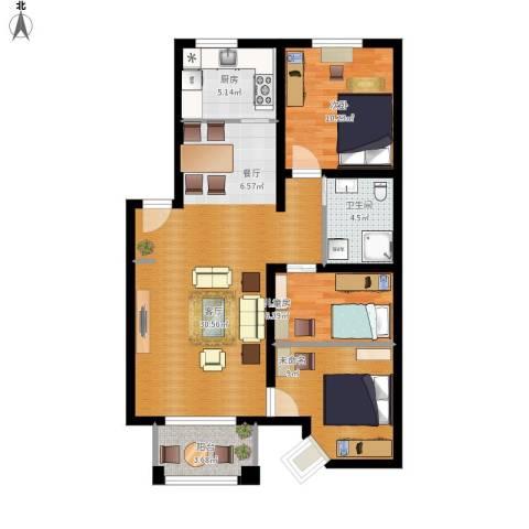 绿城桂花城2室1厅1卫1厨100.00㎡户型图