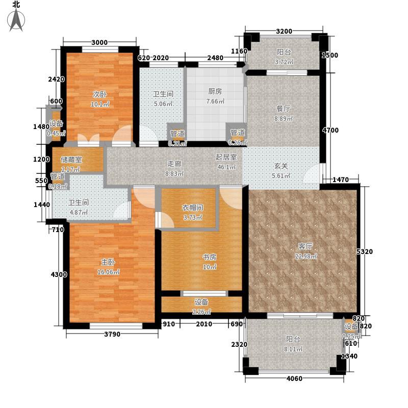 天泽苑136.16㎡3期9-16#楼标准层B3户型