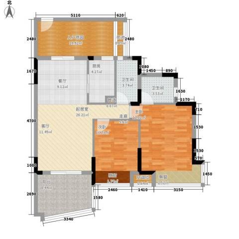富逸臻园2室0厅2卫1厨99.00㎡户型图