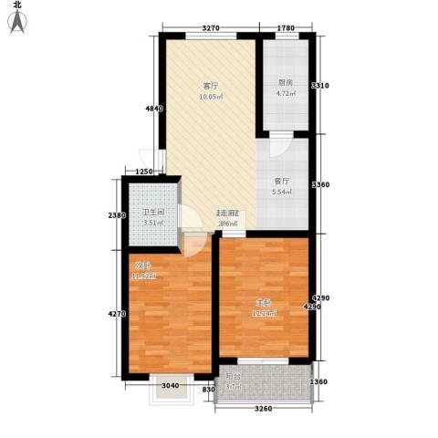 昌黎西苑二期2室0厅1卫1厨79.00㎡户型图