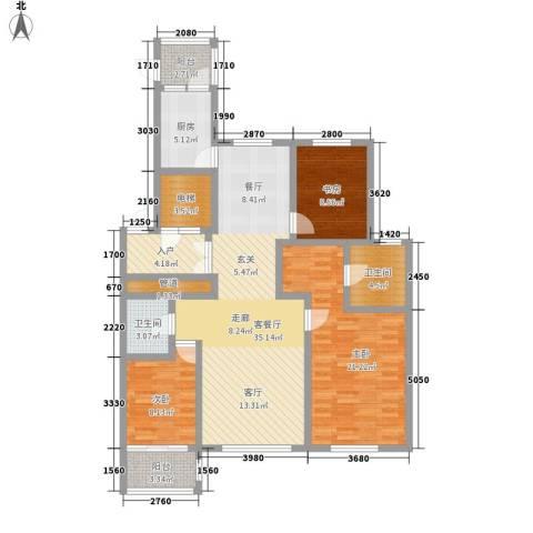 世家官邸3室1厅2卫1厨148.00㎡户型图