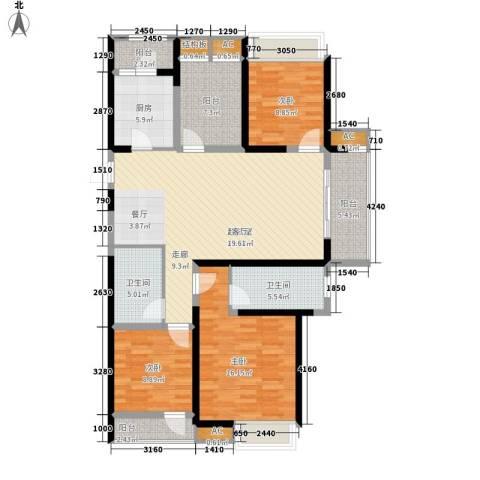 鑫苑鑫城3室0厅2卫1厨120.00㎡户型图