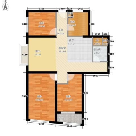 香格里拉城市广场3室0厅1卫1厨125.00㎡户型图