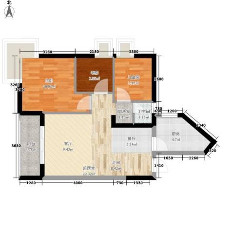 娱苑新村3室0厅1卫1厨81.00㎡户型图