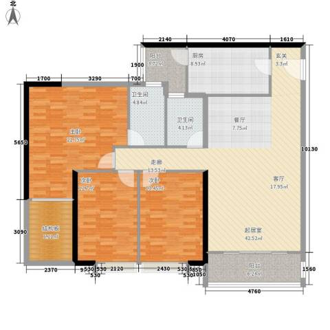 中信小区3室0厅2卫1厨140.00㎡户型图