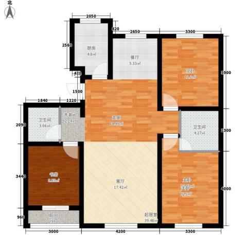 开元豪庭3室0厅2卫1厨122.00㎡户型图