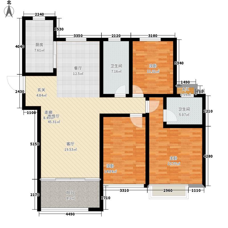 中建锦绣城135.00㎡K2户型3室2厅