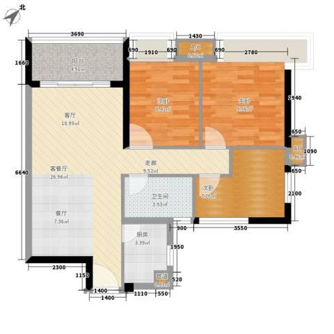 云东小区3室1厅1卫1厨74.00㎡户型图