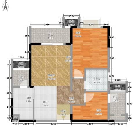 保利椰风半岛2室1厅1卫1厨63.08㎡户型图