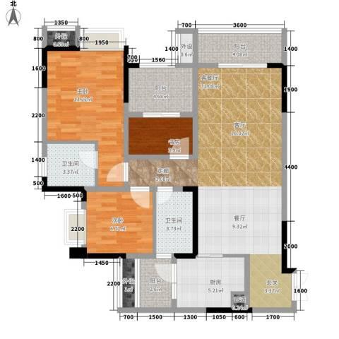 保利椰风半岛3室1厅2卫1厨84.00㎡户型图