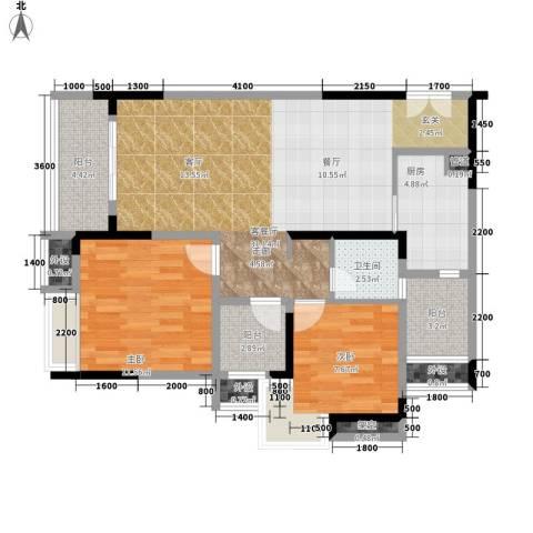 保利椰风半岛2室1厅1卫1厨71.20㎡户型图