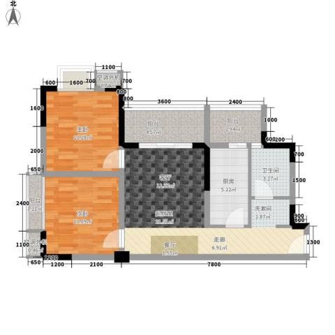 滨江翡翠城2室0厅1卫1厨67.00㎡户型图