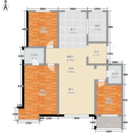 世家官邸3室1厅2卫1厨191.00㎡户型图