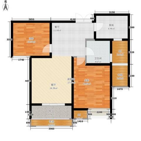 东冠逸品花园2室0厅1卫1厨110.00㎡户型图