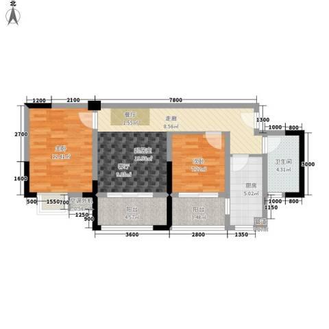 滨江翡翠城2室0厅1卫1厨64.00㎡户型图