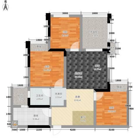 滨江翡翠城3室0厅1卫1厨81.00㎡户型图