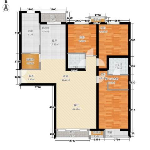 明德华园大厦3室0厅2卫1厨163.00㎡户型图