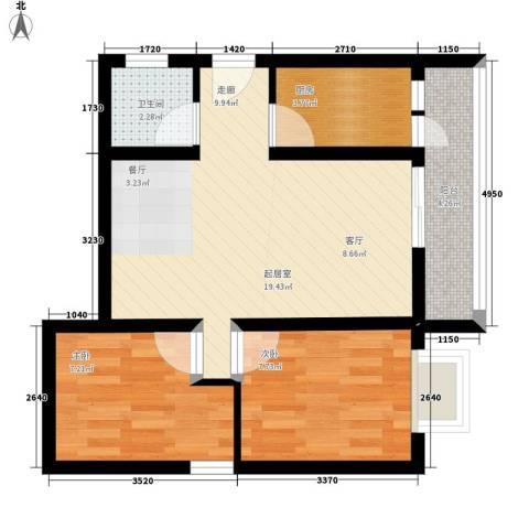 海宇依云香榭2室0厅1卫1厨64.00㎡户型图