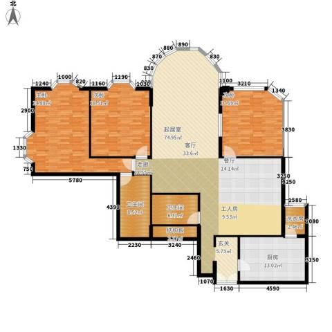 鹏润家园3室0厅2卫1厨184.00㎡户型图