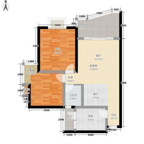 森望芳草绿岸2室0厅1卫1厨75.00㎡户型图