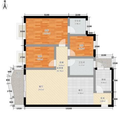 森望芳草绿岸3室0厅2卫1厨93.00㎡户型图