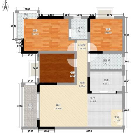 森望芳草绿岸3室0厅2卫1厨109.00㎡户型图