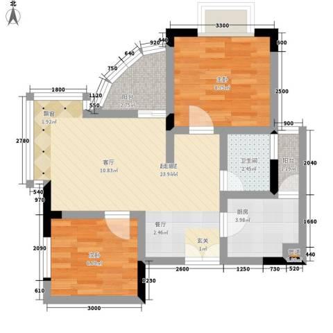 森望芳草绿岸2室0厅1卫1厨59.00㎡户型图