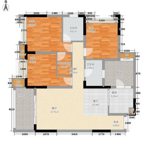 艾佳沁园3室1厅2卫1厨127.00㎡户型图