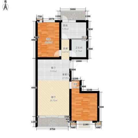 领秀天成2室1厅1卫1厨95.00㎡户型图