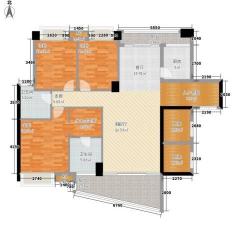 红旗雅居3室1厅2卫1厨133.67㎡户型图