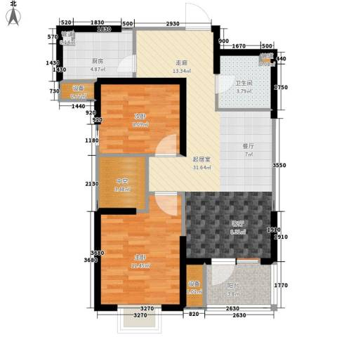 福源九方2室0厅1卫0厨95.00㎡户型图