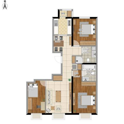 京投银泰 公园悦府3室1厅2卫1厨114.00㎡户型图