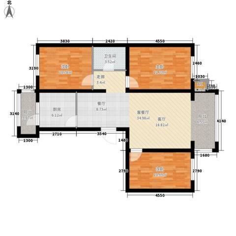银湖馨苑3室1厅1卫1厨94.44㎡户型图