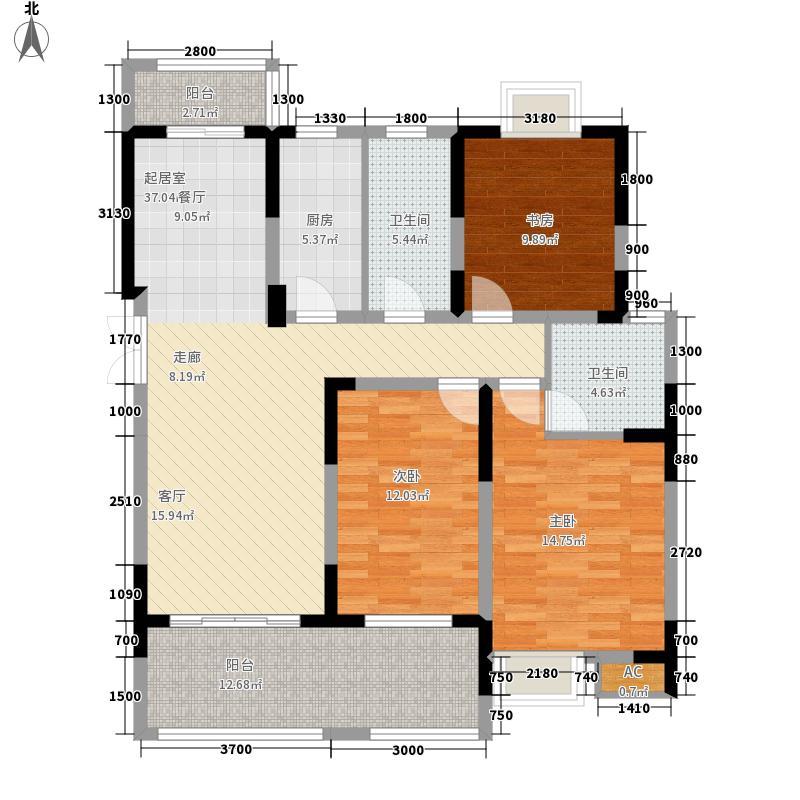 恒创金色恬园122.00㎡小高层9号楼边套E户型