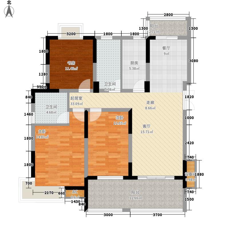 恒创金色恬园123.00㎡小高层9号楼中间套F户型