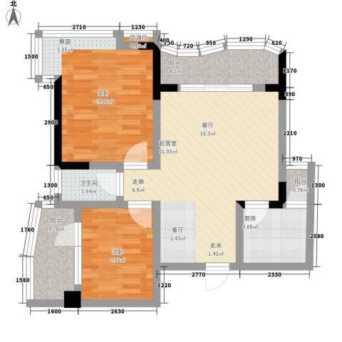 森望芳草绿岸2室0厅1卫1厨66.00㎡户型图