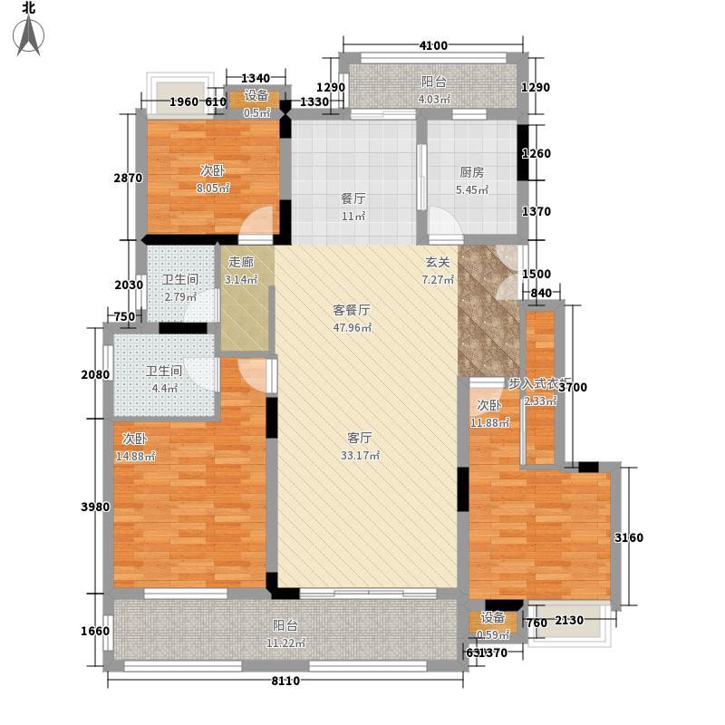 兰湖美域132.00㎡三楼中间套户型