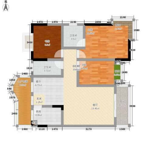 森望芳草绿岸3室0厅2卫1厨101.00㎡户型图