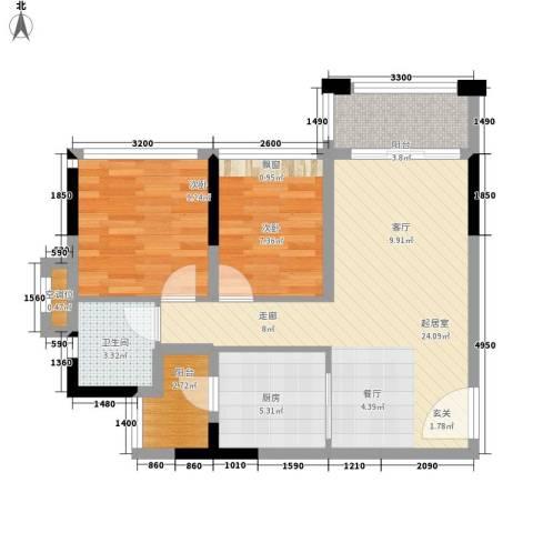 美汇半岛2室0厅1卫1厨82.00㎡户型图