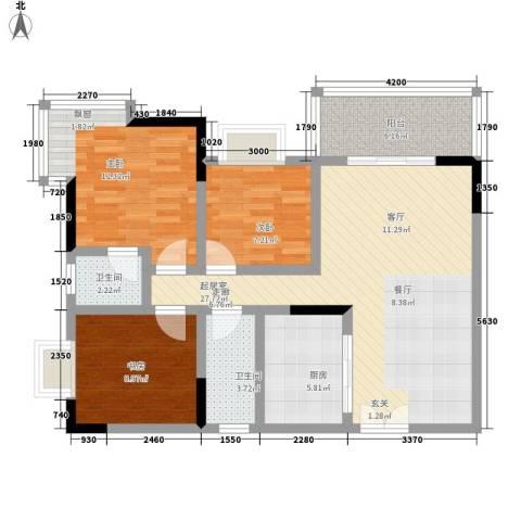 森望芳草绿岸3室0厅2卫1厨89.00㎡户型图