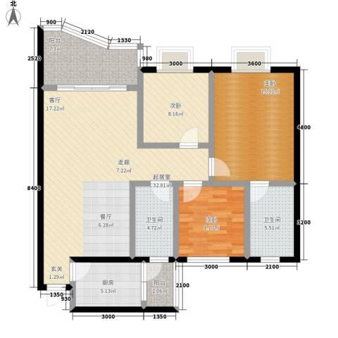 森望芳草绿岸3室0厅2卫1厨105.00㎡户型图