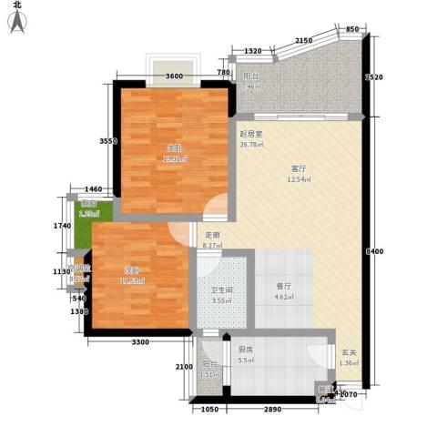 森望芳草绿岸2室0厅1卫1厨83.00㎡户型图