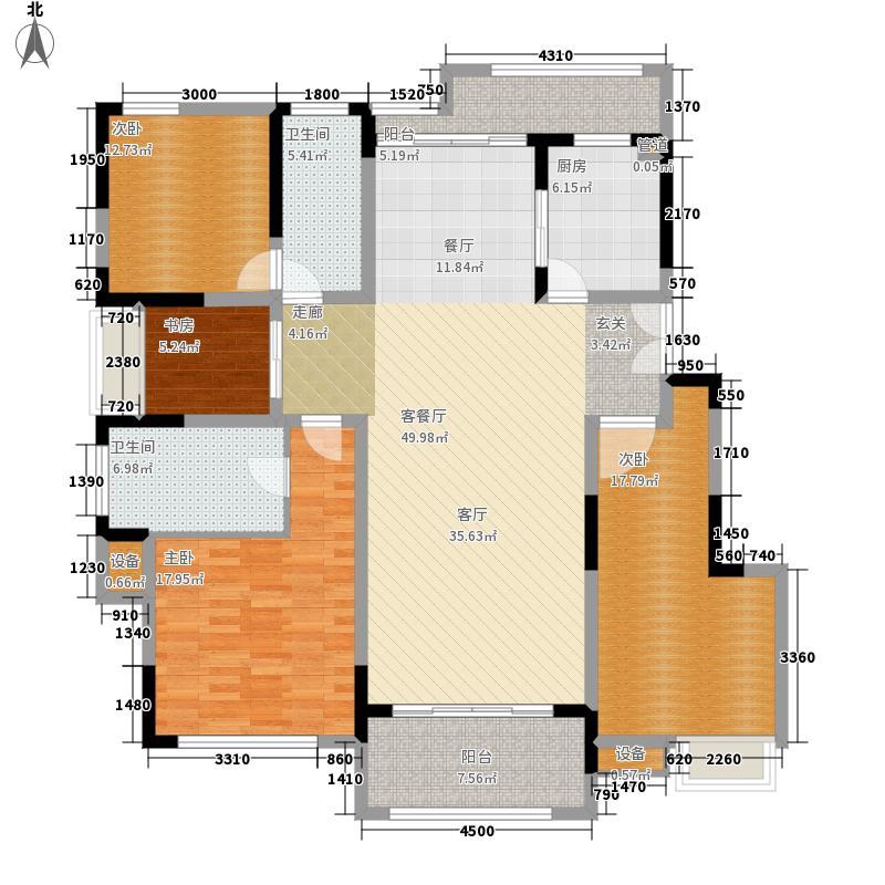 兰湖美域140.00㎡四楼边套户型