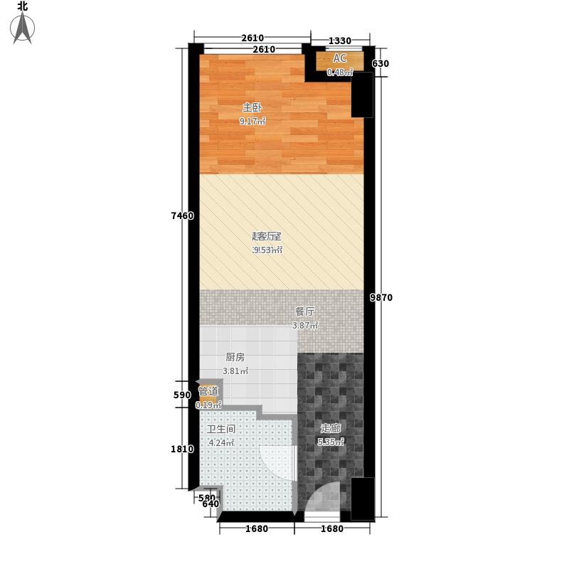 熙悦华府54.00㎡公寓标准层D户型