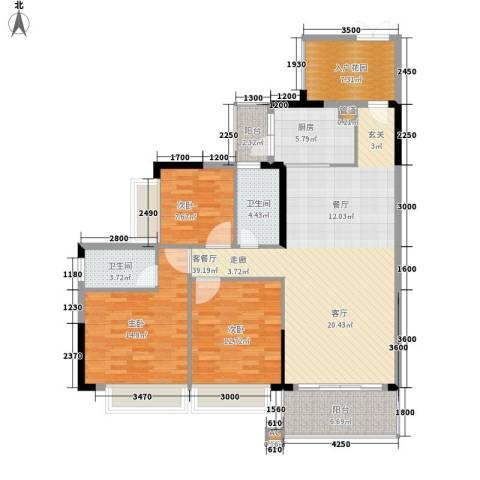 雍华庭3室1厅2卫1厨147.00㎡户型图