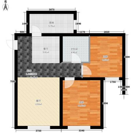 熙悦华府2室0厅1卫1厨88.00㎡户型图