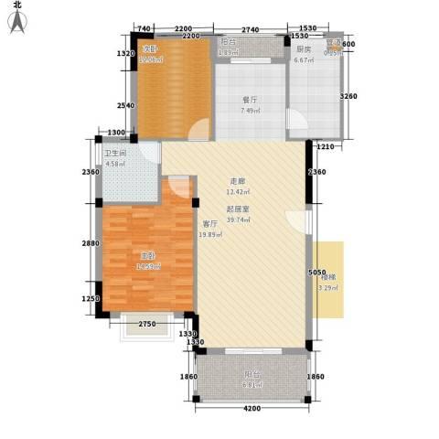 薇湖水岸2室0厅1卫1厨108.00㎡户型图