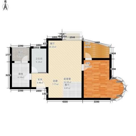 中远两湾城四期1室0厅1卫1厨100.00㎡户型图